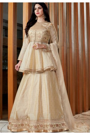 Cream Silk Viscose Long Jacket Lehenga Style Suit 2505