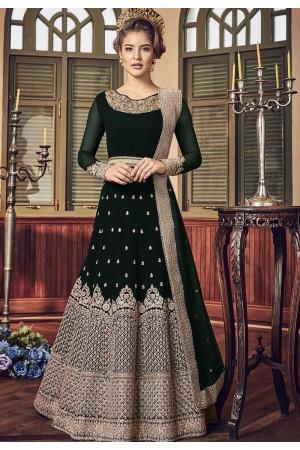 Dark Green Georgette Floor Length Designer Anarkali Suit 5801E