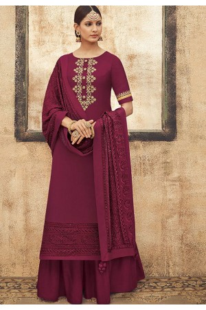 Dark Pink Pure Silk Sharara Style Pakistani Suit 44