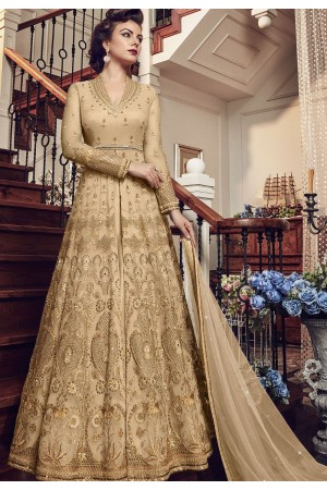 Gold Net Embroidered Lehenga Style Anarkali Suit 5804C