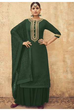 Green Pure Silk Sharara Style Pakistani Suit 46