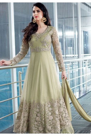 Green Shade Net Embroidered Designer Anarkali Suit 2506