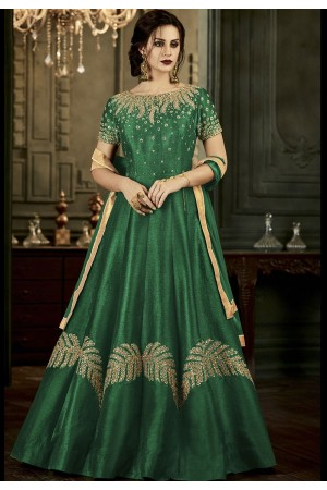Green Silk Long Embroidered Anarkali Suit 34002