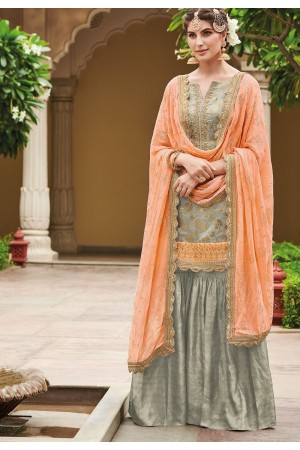 Grey Dola Silk Sharara Style Pakistani Suit 34