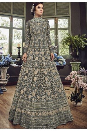Grey Net Embroidered Long Designer Anarkali Suit 5810F