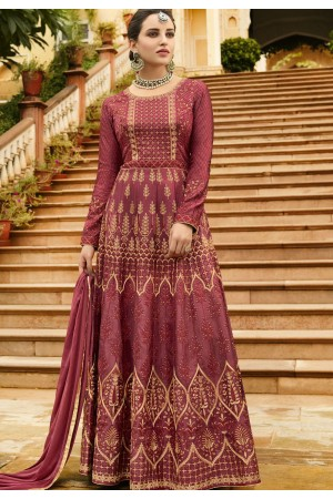 Grey Silk Embroidered Anarkali Suit 105