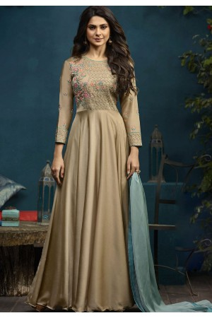 Jennifer Winget Beige Silky Georgette Long Anarkali Suit 5023