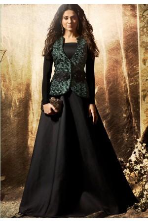 Jennifer Winget Black Lycra Long Anarkali Suit with Jacket 1136