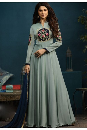 Jennifer Winget Blue Silky Georgette Long Anarkali Suit 5018
