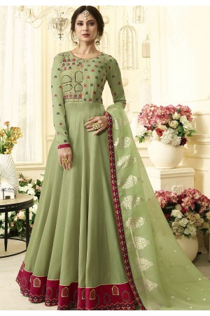 8980801686 Jennifer Winget Dark Green Silk Floor Length Anarkali Suit 408