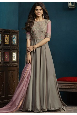 Jennifer Winget Grey Silky Georgette Long Anarkali Suit 5022