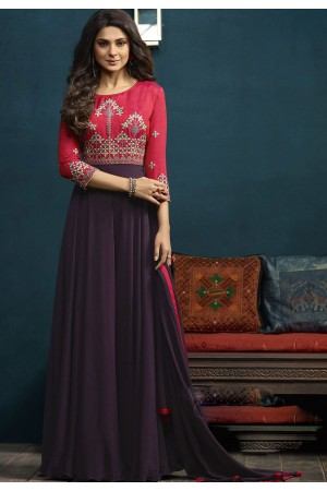 Jennifer Winget Mauve and Pink Silk Georgette Anarkali Suit 5016