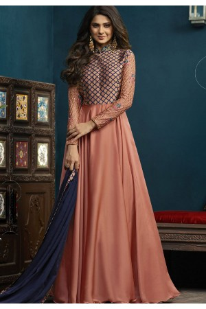 Jennifer Winget Peach Silky Georgette Floor Length Anarkali Suit 5020