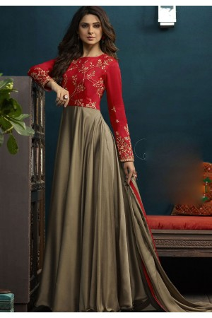 Jennifer Winget Steal Grey and Red Silky Georgette Long Anarkali Suit 5019