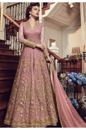 Light Pink Net Embroidered Lehenga Style Anarkali Suit 5804B