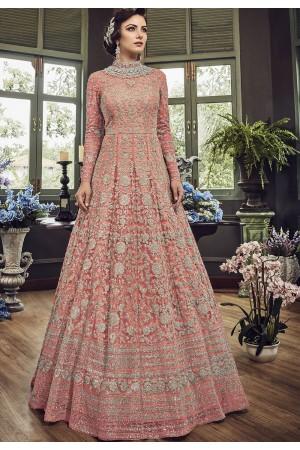 Light Pink Net Embroidered Long Designer Anarkali Suit 5810B