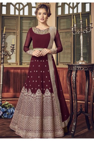 Maroon Georgette Floor Length Designer Anarkali Suit 5801B