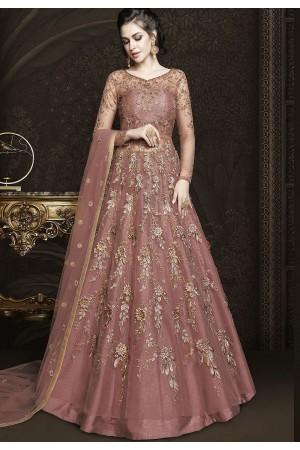 Mauve Net Floor Length Designer Lehenga Anarkali Suit 6430