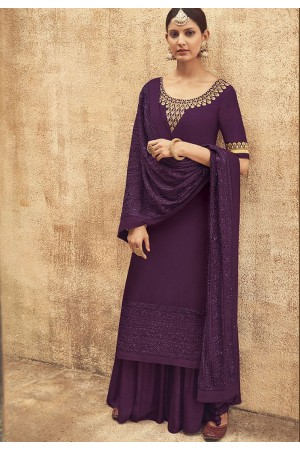 Mauve Pure Silk Sharara Style Pakistani Suit 41