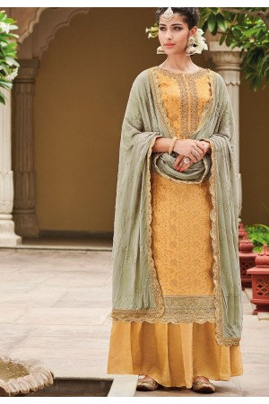 Mustard Dola Silk Sharara Style Pakistani Suit 33