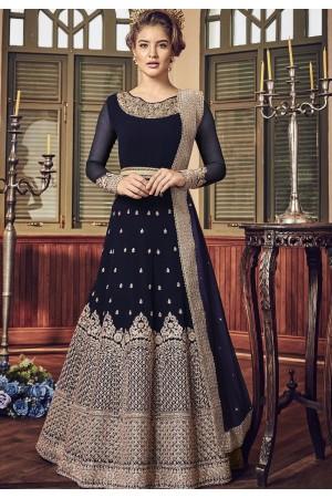 Navy Blue Georgette Floor Length Designer Anarkali Suit 5801C