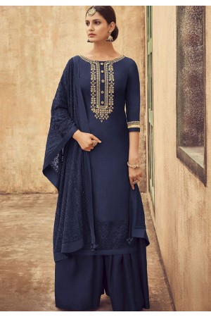 Navy Blue Pure Silk Sharara Style Pakistani Suit 45