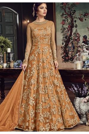 Orange Net Embroidered Floor Length Anarkali Suit 5807D