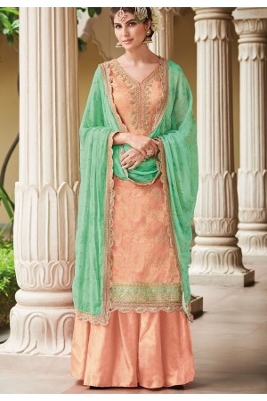 Peach Dola Silk Sharara Style Pakistani Suit 36