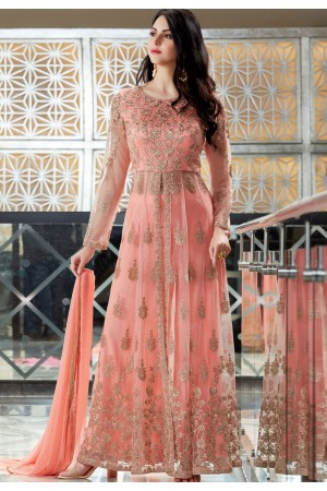 Pink Net Embroidered Palazzo Style Designer Suit 2507