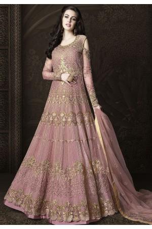 Pink Net Floor Length Designer Anarkali Suit 6435
