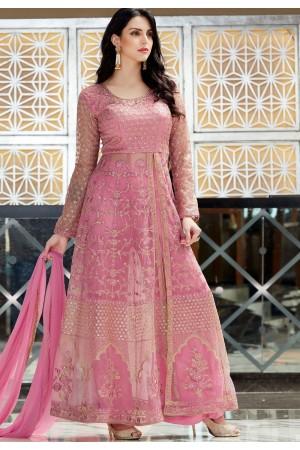 Pink Net Lehenga Style Anarkali Designer Suit 2503