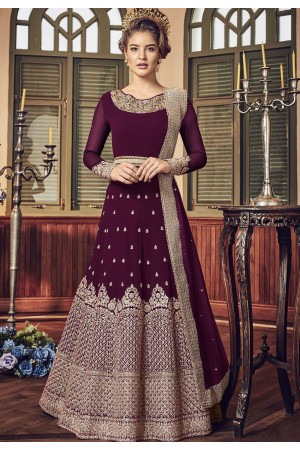 Purple Georgette Floor Length Designer Anarkali Suit 5801F