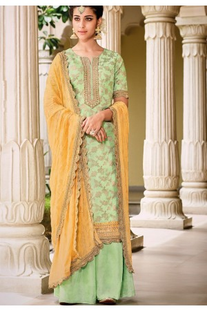 Sea Green Dola Silk Sharara Style Pakistani Suit 39