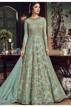 Sky Blue Net Embroidered Floor Length Anarkali Suit 5807C