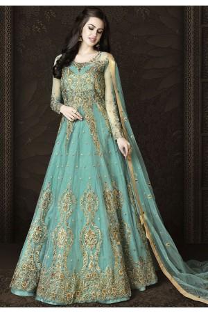Sky Blue Net Floor Length Designer Anarkali Suit 6431
