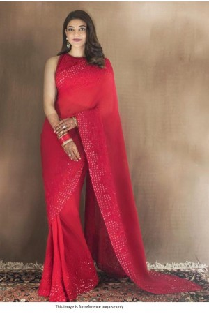 Bollywood Kajal agrawal inspired red sequins saree
