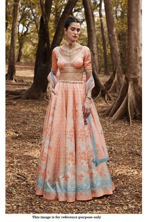 Bollywood Anita Dongre Inspired peach silk lehenga
