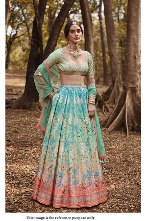 Bollywood Anita Dongre Inspired sea green silk lehenga