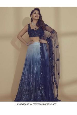 Bollywood Madhuri Dixit Inspired blue sequins lehenga