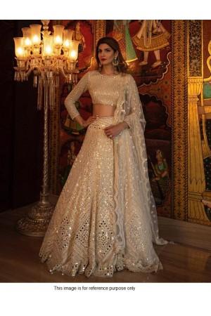 Bollywood Model beige mirror lehenga