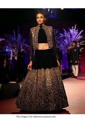 Bollywood model black velvet mirror work lehenga