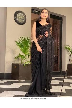 Bollywood model black net sequins saree