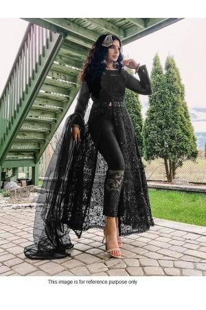 Bollywood Model black net front slit open suit