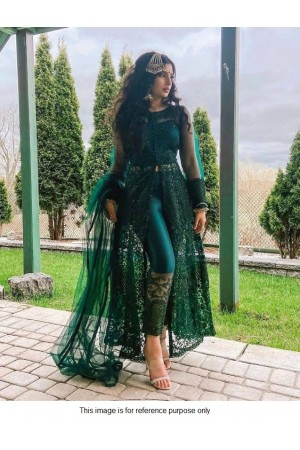 Bollywood Model Green net front slit open suit