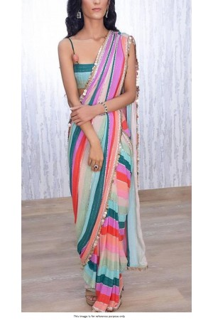 Bollywood model multi color georgette line sequins saree