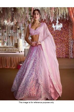 Bollywood SaraAlikhan inspired light rose lehenga choli