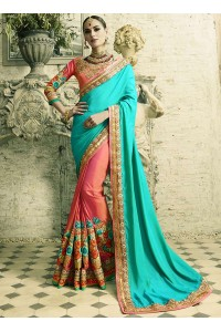 Blue and pink silk crepe and art silk wedding wear saree