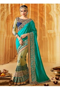 Turquoise art silk wedding wear saree