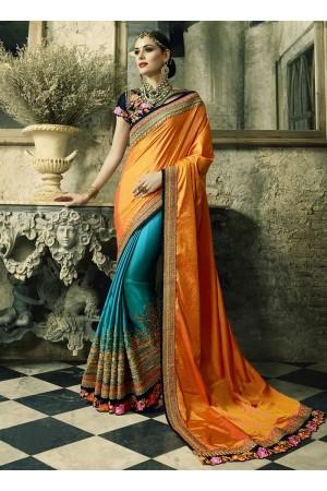 Yellow and blue crepe silk and satin crepe wedding wear saree