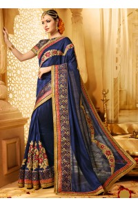 Navy blue art silk wedding wear saree